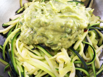 Avocado sauce over zuc noodles